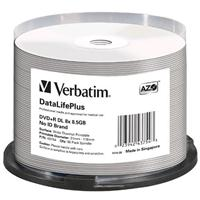 DVD+R DL 8.5GB 8x Cake 50pz VERBATIM Azo White Thermal Printable Wide No ID Brand 21-118 PRO for Everest, Prism & P55