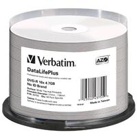 DVD-R 4.7GB 16x Cake 50pz VERBATIM Azo White Thermal Printable Wide No ID brand 21-118 PRO for Everest, Prism & P55