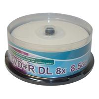 DVD+R DL 8.5GB 8x Cake 25pz CMC White InkJet Printable