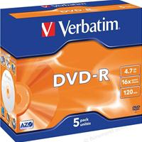 DVD-R 4.7GB 16x Jewel 5pz VERBATIM Azo
