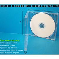CUSTODIA 10.4mm CD JEWEL SINGOLO con TRAY CLEAR Grado A Conf.50pz Imballo Speciale