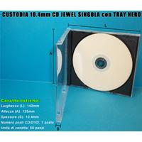 CUSTODIA 10.4mm CD JEWEL SINGOLO con TRAY NERO Conf.50pz Imballo Speciale