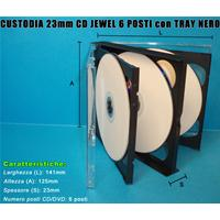CUSTODIA 23mm CD JEWEL 6 posti con TRAY NERO ECONOMICA