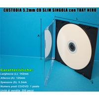 CUSTODIA 5.2mm CD SLIM SINGOLA con TRAY NERO Conf.200pz
