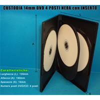 CUSTODIA 14mm DVD QUADRUPLA NERA con 1 inserto