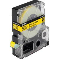 NASTRO NERO su GIALLO 9mm x 8mt COMPATIBILE EPSON ( LC-3YBP9 )