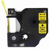 NASTRO STANDARD D1 NERO su GIALLO COMPATIBILE DYMO 12mm x 7mt (45018)