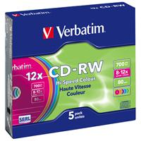 CD-RW 700MB|80min 12x Slim 5pz VERBATIM SERL Colorati
