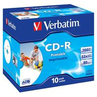 CD-R 700MB|80min 52x Jewel 10pz VERBATIM Azo Stampabile Bianca 23–118mm