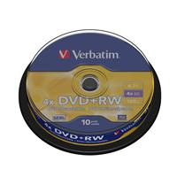 DVD+RW 4.7GB|120min 4x Cake 10pz VERBATIM SERL ReWritable