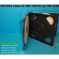 CUSTODIA 23mm CD JEWEL 2 posti TRAY NERO assemblato
