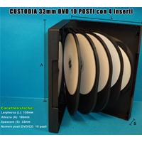 CUSTODIA 33mm DVD 10 posti NERA 4 inserti no clips