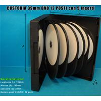 CUSTODIA 39mm DVD 12 posti NERA 5 inserti