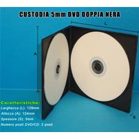 CUSTODIA 5mm PP DOPPIA NERA QUADRATA Eco. 128x125x5mm