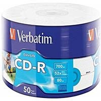 CD-R 700MB 52x Shrink 50pz VERBATIM Stampabile Bianca 40-118mm