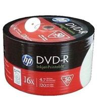 DVD-R 4.7GB|120min 16x Shrink 50pz HP Stampabile Bianca 23.5-118mm NoID
