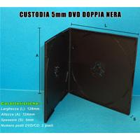 CUSTODIA 5mm in PP DOPPIA NERA QUADRATA Conf.200pz