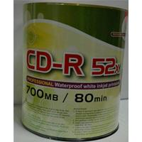 CD-R 700MB 52x Shrink 100pz CMC Stampabile Bianca WaterProof 23-118mm