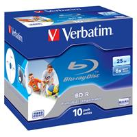 Blu-Ray BD-R SL 25GB 6x Jewel 10pz VERBATIM Stampabile Bianca 22-118mm