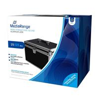 Media storage case for 120 discs, aluminum look, with hanging sleeves, black