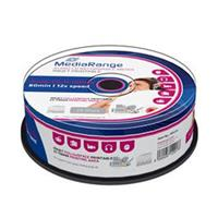 CD-R AUDIO 700MB|80min 12x Cake 25pz MediaRange Stampabile Bianca 23-118mm