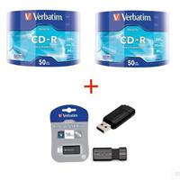 CD-R 700MB|80min 52x Shrink 100pz VERBATIM Extra Protection + PEN DRIVE 16GB Store'n'Go Nera