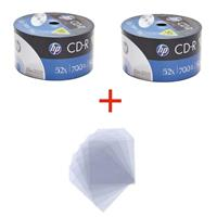 CD-R 700MB|80min 52x Shrink 100pz HP + 100 Bustine trasparenti