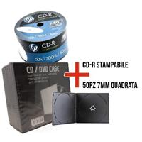 CD-R 700MB|80min 52x Shrink 50pz HP Stampabile Bianca 23.5-118mm + 50 custodie 7mm singola nera