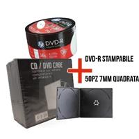 DVD-R 4.7GB|120min 16x Shrink 50pz HP Stampabile Bianca 23.5-118mm + 50 custodie 7mm singola nera