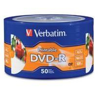 DVD-R 4.7GB|120min 16x Shrink 50pz VERBATIM Stampabile bianca 23-118mm