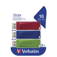 PEN DRIVE 16GB VERBATIM USB 2.0 SLIDER 3 X (RED / BLUE / GREEN)