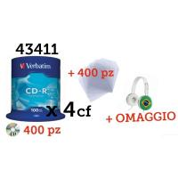 400 CD vergini VERBATIM - CD-R 700MB|80min 52x Cake Extra Protection + 400 Bustine + OMAGGIO CUFFIE